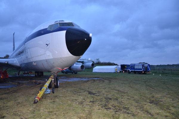 Flugzeug in Parkposition.