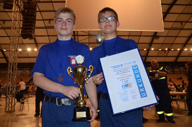 Aus der THW-Jugend Hamburg-Nord waren Thomas und Sören Teil der Wettkampfmannschaft.
