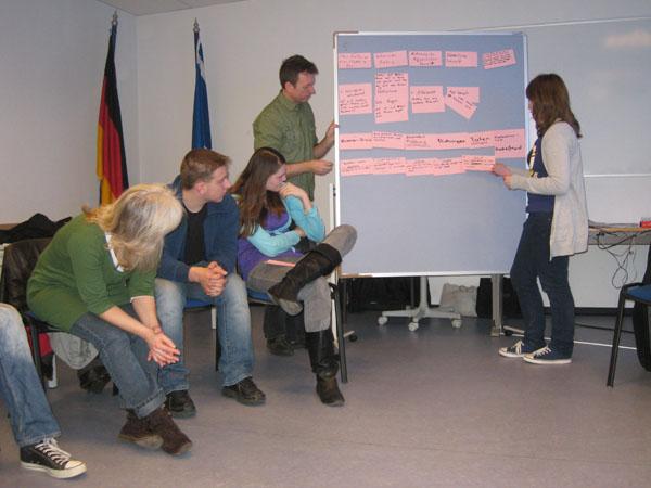 Gruppenarbeit zum Thema Konfliktmanagement.