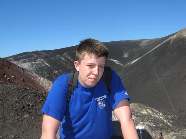 Björn auf dem Vulkan Cerro Negro.