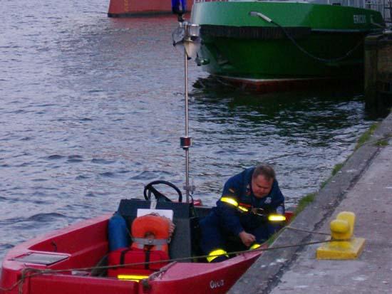 Kurz vor dem Ablegen mit dem Rettungsboot.