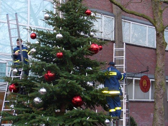 Nach dem Aufstellen vor dem Altonaer Museum wird der Baum geschmückt.