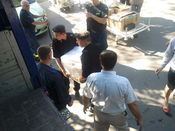 Entladung am Krankenhaus des Innenministeriums.