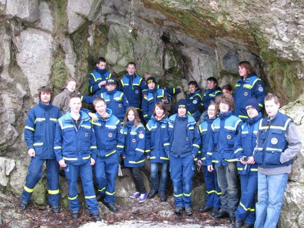 Gruppenfoto vor dem Kalkberg.