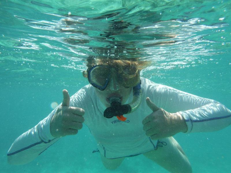 Vanessa erforschte beim Tauschen Korallen und andere Lebewesen.